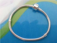 Wholesale 3mm cm Pandora Silver Plated Bracelet Chain with Barrel Clasp Fit European Beads