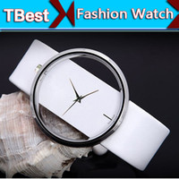 Women's analog bags - Fashion Women PU Leather Watch Hollow out Transparent Dial Lady Wrist Wristwatch Stainless Steal GLASS Opp Bag Packaging