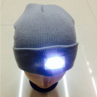 best led dome light - LED winter Knitted hat LED Glowing Light camp warm Beanie Skull caps climbing outdoor night flashlight Knitting hats cap Factory price Best