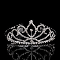 rhinestone hair comb - 10PCS Shiny Crystal Wedding Crown Tiara Hair Combs Sliver Plated Bridal Hair Accessories Women
