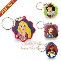 Wholesale 40PCS New Hot Princess Snow White Doc McStuffins Cartoon Keyrings Keychains Kawaii Keyfob soft PVC key chains Cartoon Character Key Chains