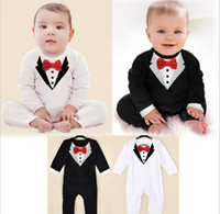 Wholesale Jumpsuit One Piece Suits Romper Boy Baby Formal Suit Tuxedo Romper Pants Jumpsuit Gentleman Clothes for Infant Baby Romper Long Sleeve Bow