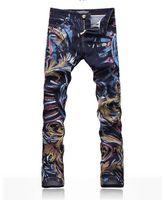 Wholesale hot men s jeans men s jeans dennim fabric tide painted D printing Jeans don t fade Slim Jeans
