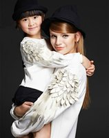 angels family - Hot parent children D wings hoody celebrity D vivid embroidery angel feather long sleeve pullover sweatshirts family fitted dress for kids