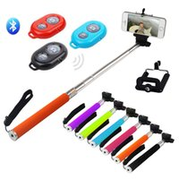 Wholesale FREE DHL Extendable Monopod Selfie Stick Phone Camera Self Portrait Clip Holder Bluetooth Remote Shutter Controller for Android iOS