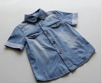 Wholesale high quality children s denim shirt kids boy s short sleeved denim shirts