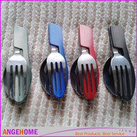 Wholesale New folding outdoor tableware multifunctional camping knife spoon fork hiking tableware for picnic survival tools W Nylon bag