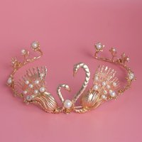 10k gold jewelry - 2016 Vintage Gold Double Swans Tiaras Crown Headdress Wedding Pearl princess crowns Bridal Jewelry crown Platonic Love hair accessories
