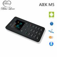 Wholesale Original AIEK M5 Card Cell Phone mm Ultra Thin Pocket Mini Phone Quad Band Low Radiation AEKU M5 Card mobile Phone cell phone