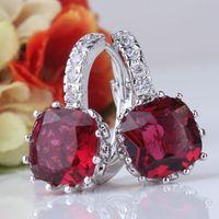 Wholesale Elegant jewelry k white gold filled earrings lovely garnet small hoop earrings zirconia earrings brand E001e
