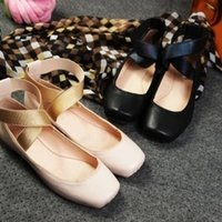 Wholesale new arrival elegant sweet lolita square toe sheepskin women s cross lace up ballet flat ballerinas