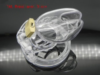 cock cage - Male Chastity Device Plastic Cock Cages Men s Virginity Lock size include Penis Ring Adult Sex Toys Clear