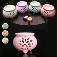 lamp oil - Tripod Hollow Ceramic Vaporizer Aromatherapy Candle Holder Essential Oil Incense Kit Fragrant Decompression Therapy SPA Fragrance Lamps Sets