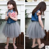 baby sets - 2015 Summer Charming Sets Baby Girls Cute Fashion Soild Denim Shirt Tutu Skirt Suits Girls Beautiful New Sets
