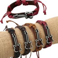 beaded guitar - Best Friend Fine Jewelry Antique Genuine Leather Bracelets Hollow Guitar Charm Bracelet For Women Men Friendship Bracelets