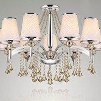 Wholesale Crystal chandelier living room dining cloth shade lights crystal chandelier study bedroom