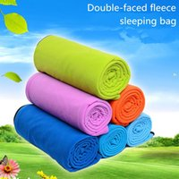 Wholesale Portable double faced fleece sleeping bag envelope type for outdoor camping keep warm
