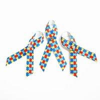 autism pin - 500pcs Autism Awareness Ribbon Bow Puzzle Red Blue Golden Sliver Safty Pin