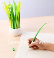 Wholesale lovely grass pens present plant mm gel ink pen office decoration fashion pooleaf pen