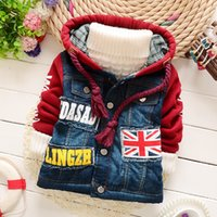 baby jeans jackets - Fashion Warm Winter Infants Baby Boys Letters Hooded Jeans patchwork jacket Plus Thicken Snow Wear Jackets Outwear Coats Parkas