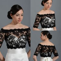 Wholesale 2015 New Design Off Shoulder Half Sleeve Lace Black Bolero Jacket Cheap Cap Wrap Shrug For Wedding Bridal Evening Party PJ014