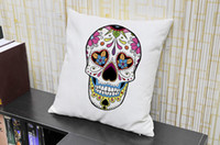 Wholesale Personality Cover Cushion Colorful Mexican Day Of The Dead Sugar Skull Print Chair Pillow Case cmX45cm