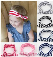 Wholesale 2015 New Hot Striped Baby Hairband Girls Lovely Bow Hair Band Infant Cute Bunny Hare Rabbit Ear Headwrap Children Bow Elastic headband A6402