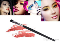 angled eye liner brush - Hot Sales Foundation Angled Eyebrow Eye Liner Makeup Brushes Brow Tool Black Handle High Quality IA2