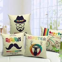 cotton Linen adult hipsters - 4 styles Moustache Hat Custom Cushion Cover Vintage Hipster Deer Pillow Case Sofa Pillow Cover cm Car Office Decoration Gift