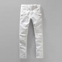 designer tights - Famous Italian Brand Designer Mens Stylish Classic White Skinny Biker Tapered Slim Jeans Men Tight Pantalones Vaqueros Hombre
