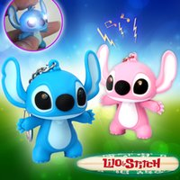 Wholesale Lilo stitch LED Flashlight Keychain with Sound cute keychains gift music keychain sound keychains JIA740