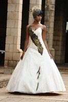 african forest - 2015 Feather African Wedding Dresses with Sweetheart Sleeveless A line Chapel Train Bridal Gowns Customized Plus Size Garden Forest Wedding