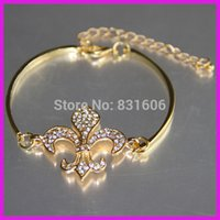 Wholesale Hot Sale Natural Crystal Rhinestone fleur de lis Gold Plated Connector New Style Fashion Bangle Bracelet For Girls