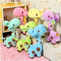 baby girl giraffe - 2014 new infant baby boys girls toy Lovely Giraffe Deer Soft Plush Toy children Animal Dolls Baby Kid Birthday Party Gift PIECE
