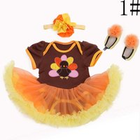 thanksgiving - Thanksgiving Day Lace Romper Flower Headbands Girl Dress Baby Clothes Toddler Clothing Children Set Kids Suit Outfits Lovekiss C22591