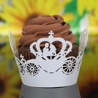 Wholesale 100pcs beauty Laser cut Lace Cake Wrapper Cupcake Wrapper FOR Wedding christmas halloween Party Decoration