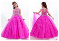 Wholesale Lovely Girls Pageant Dresses Rachel Allen Sheer Jewel Neck with Appliqued Beaded Floor Length Child Pageant Ball Gowns Custom