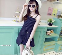 Cheap woman Chic striped suit tailor tape set woman striped harness dress set L206