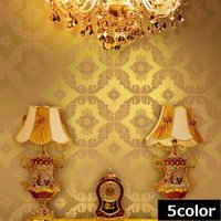 Wholesale 3 Color Vintage Luxury Gold Blue Damask Textured Embossed Wallpaper Roll Living room background D wall decor wall paper D375