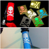Wholesale Fluorescent MTB mountain bike bicycle skull reflective stickers durable motorcycle cars for security HX