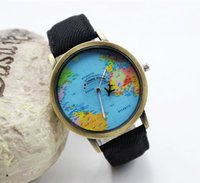 ladies dress fabric - 2016 New women leather world map watch fashion plane printing ladies cowboy dress quartz wrist watches for women ladies