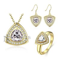 Wholesale Wedding Jewelry Sets Earrings Ring Necklace in with Triangle Cubic Zirconia for Lady S529 set