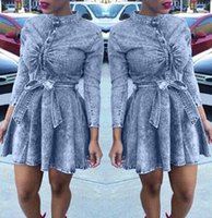belts with bow - 2015 Women Sexy Long Sleeve Bodycon Evening Cocktail Party Club Denim Jean Mini Dress with bow tie belt