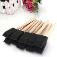 Wholesale Promotion mm Foam Sponge Brushes Wooden Handle Painting Drawing Art Craft Draw Grass Home Office Black Color