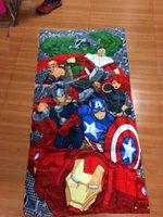 50pcs frete grátis 2014 Homem de Ferro Marvel Avengers toalha de banho 150 * 72 algodão toalhas de banho crianças toalha de praia toalha de banho crianças spider-man