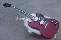 Wholesale G SG wine red color G400 mahogany body and neck strings