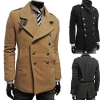 Cheap 2014 new winter men's fashion double-breasted woolen coat outdoors casual down jacket M-XXL jaqueta masculina manteau hommes