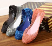 venda por atacado sapatos melissa-Mulheres Verão New Melissa plana de cristal oca sandálias Jelly Shoes