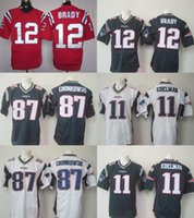 Wholesale 2016 New Logo Mens Jerseys Tom Brady Julian Edelman Rob Gronkowski Elite Stitched Jerseys