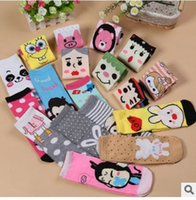 Wholesale psc pairs cute child cartoon animal print color socks children sock slippers mix colors fashion women polyester sock